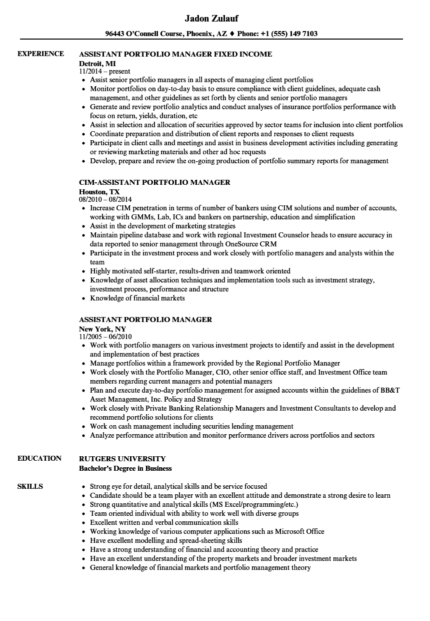 Assistant Portfolio Manager Resume Samples Velvet Jobs