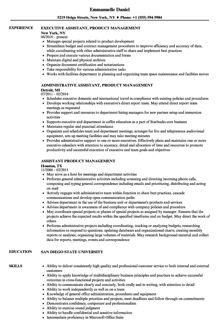 assistant product management resume samples