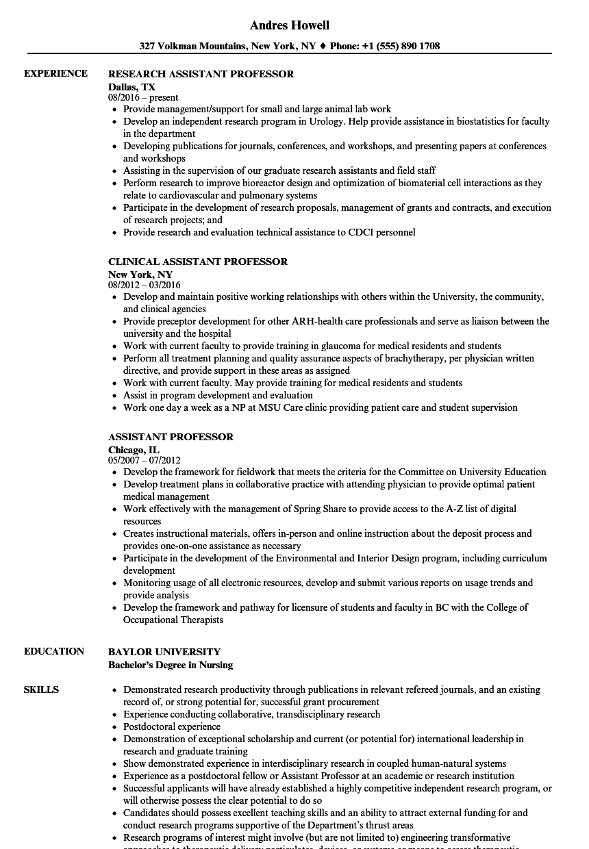 Assistant Professor Resume Samples Velvet Jobs