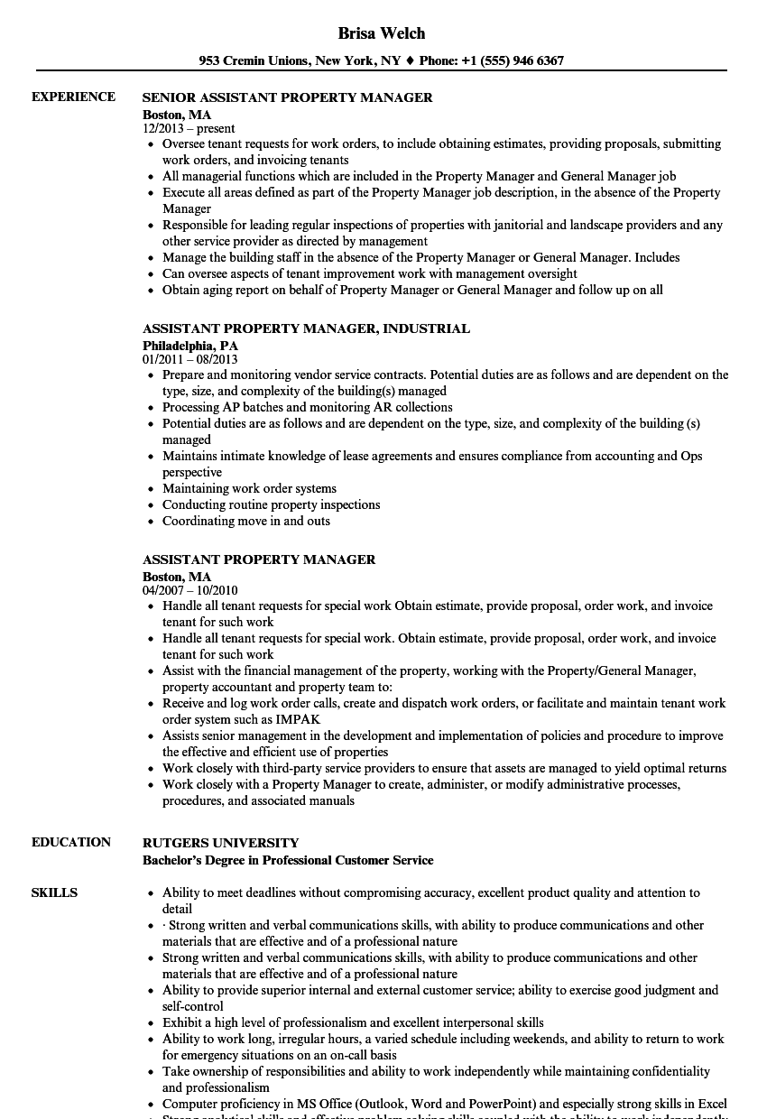 Velvet Jobs  Assistant Property Manager Resume