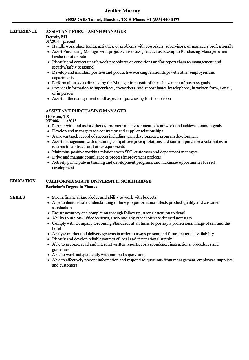 Assistant Purchasing Manager Resume Samples Velvet Jobs