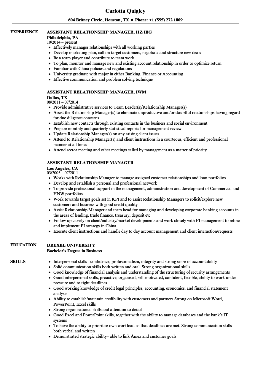 Download Assistant Relationship Manager Resume Sample As Image File