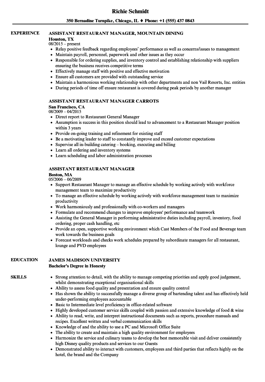 Assistant Restaurant Manager Resume Samples | Velvet Jobs