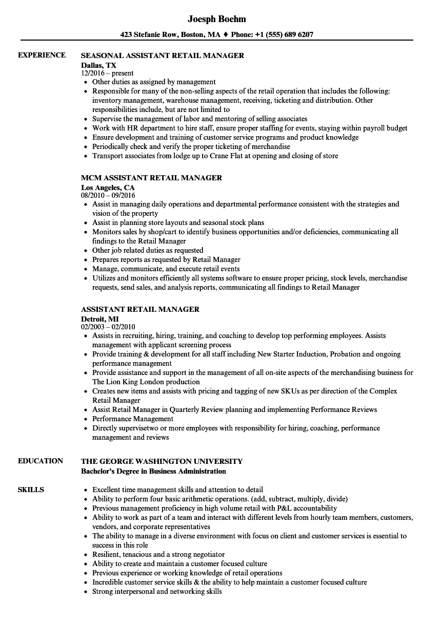 sample resume for assistant manager in retail - assistant retail manager resume samples velvet jobs