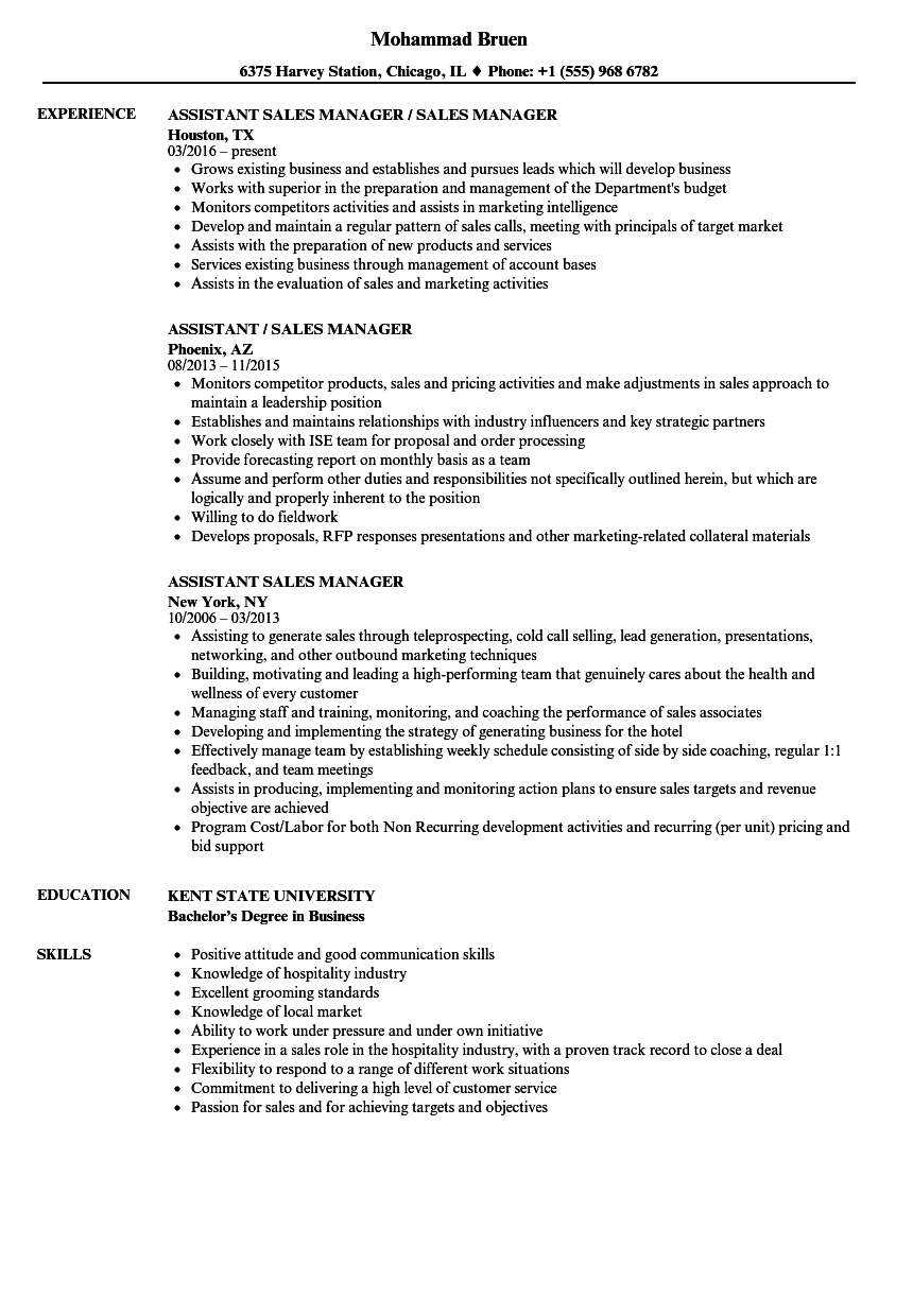 Assistant Sales Manager Resume Samples Velvet Jobs
