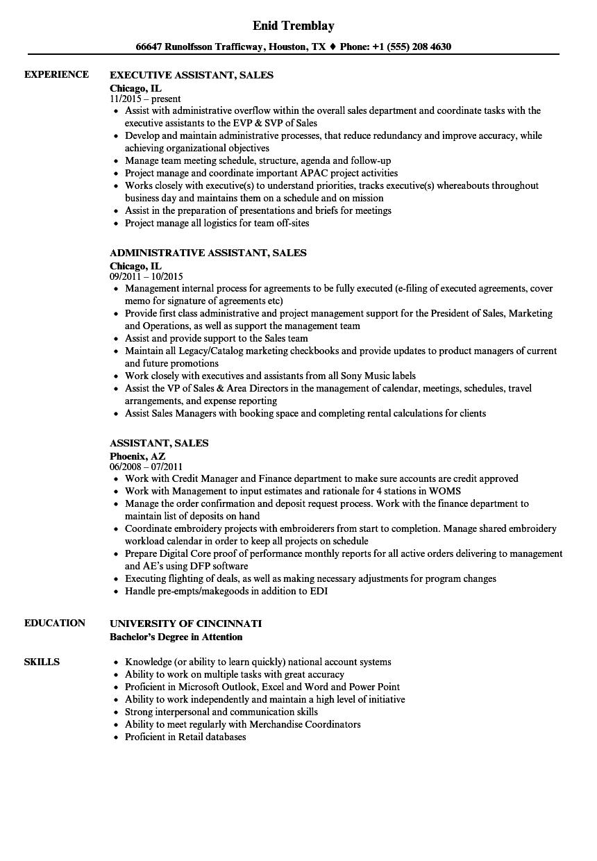 Assistant Sales Resume Samples | Velvet Jobs