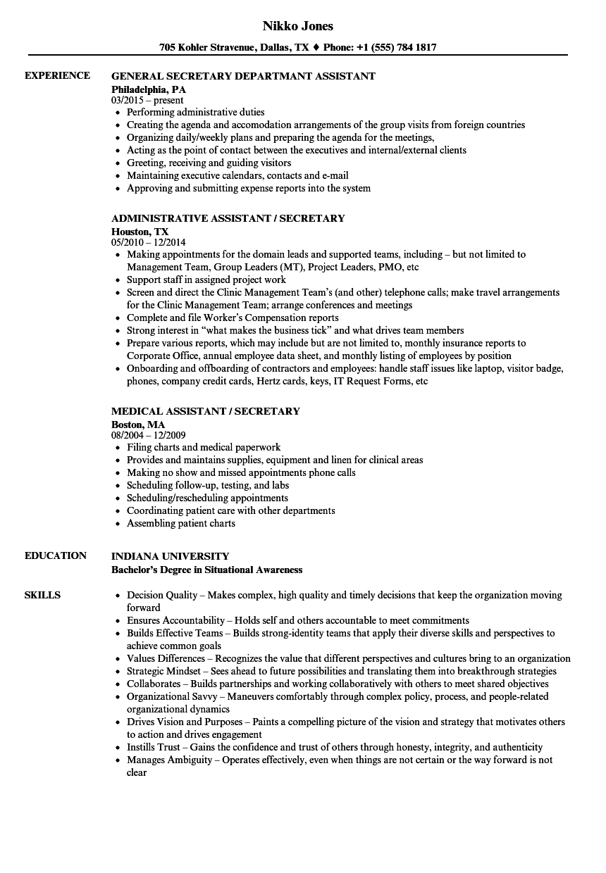 download assistant secretary resume sample as image file - Secretary Resume Sample