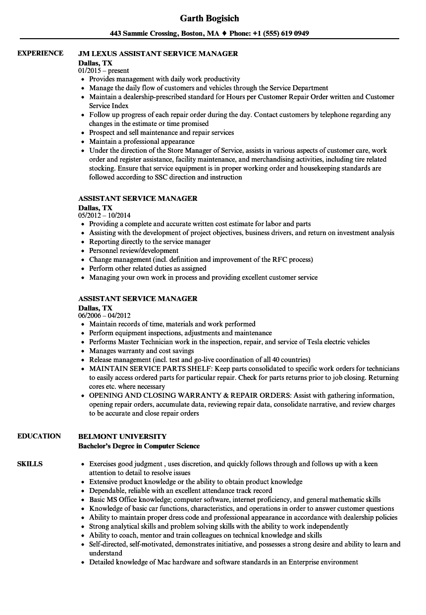 Assistant Service Manager Resume Samples | Velvet Jobs