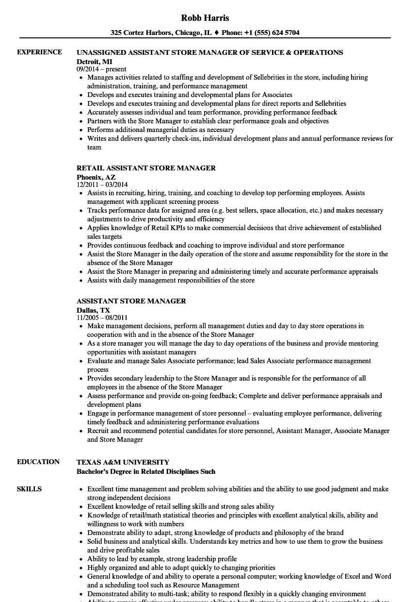 Assistant Store Manager Resume Samples | Velvet Jobs