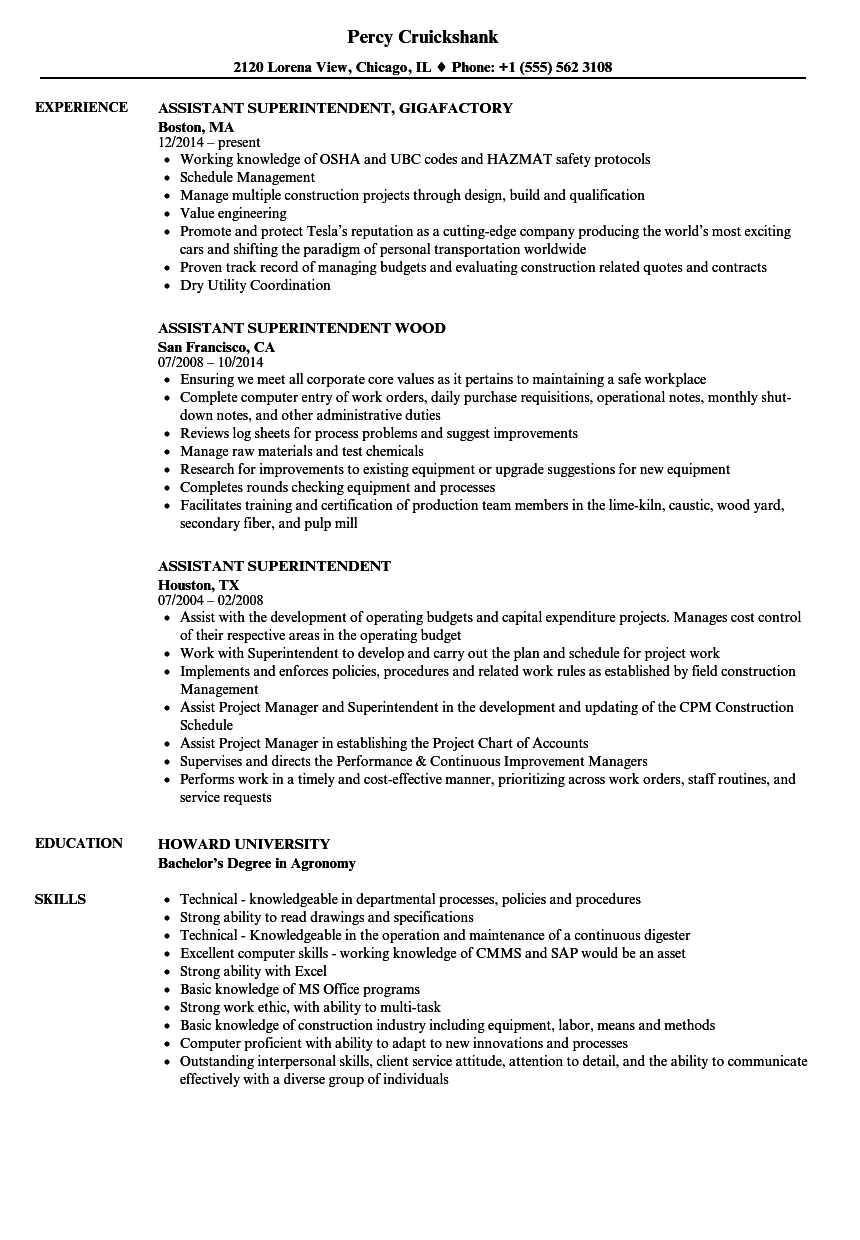 Assistant Superintendent Resume Samples Velvet Jobs