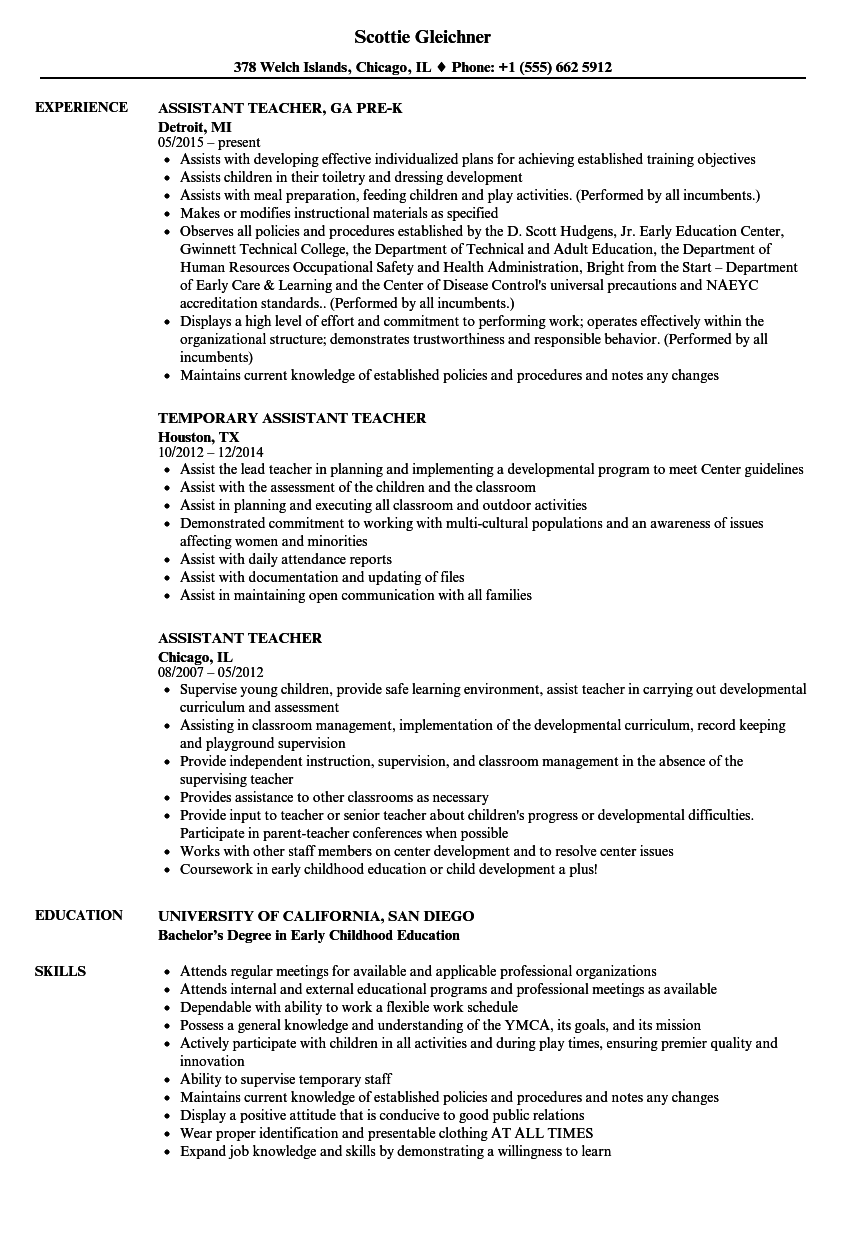 Assistant Teacher Resume Samples | Velvet Jobs