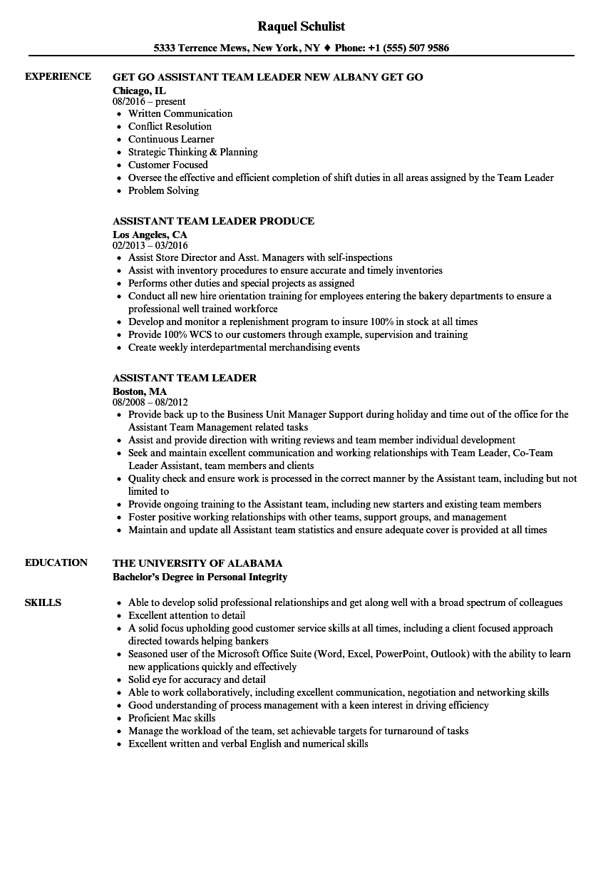 istant-team-leader-resume-sample Team Leader Resume Format on for billing, for ct, objective examples, for customer service, responsibilities for, bpo industry, for warehouse worker, summary examples for,