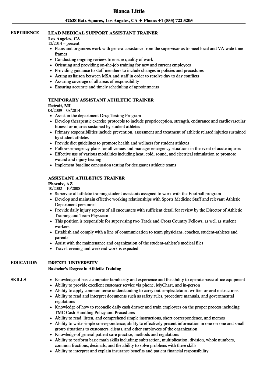 download assistant trainer resume sample as image file - Athletic Trainer Resume