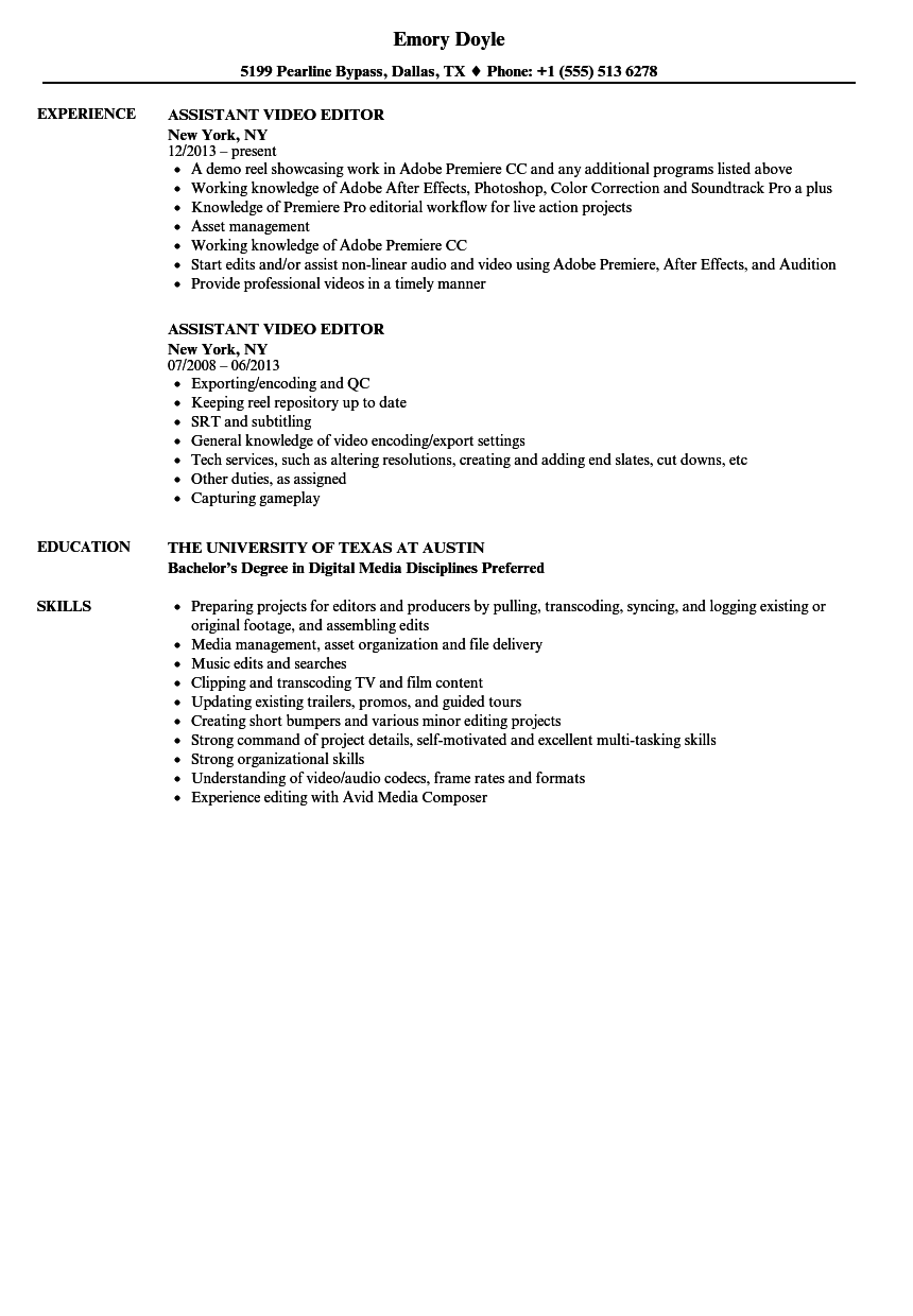 Assistant Video Editor Resume Samples Velvet Jobs