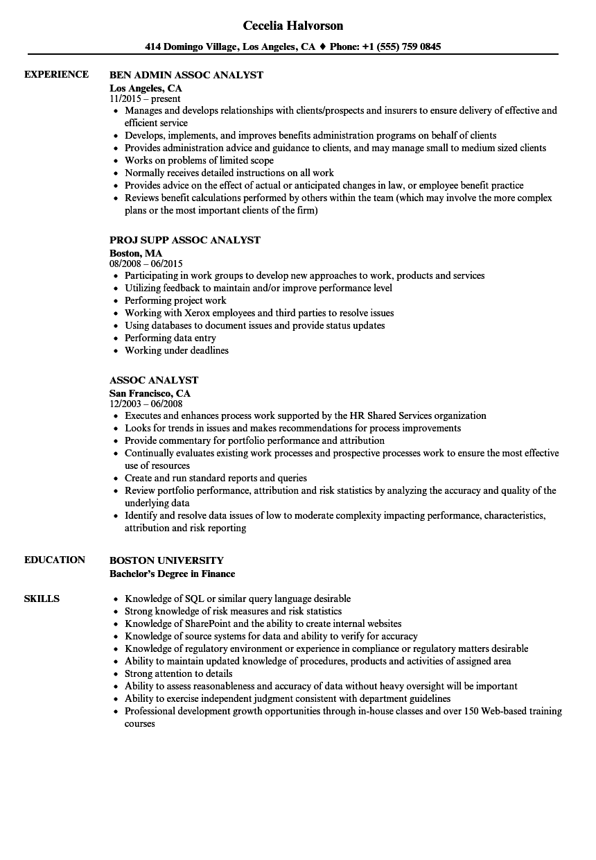 assoc analyst resume samples