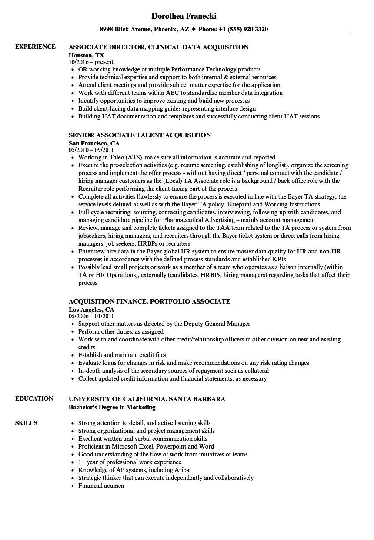 Associate Acquisition Resume Samples Velvet Jobs