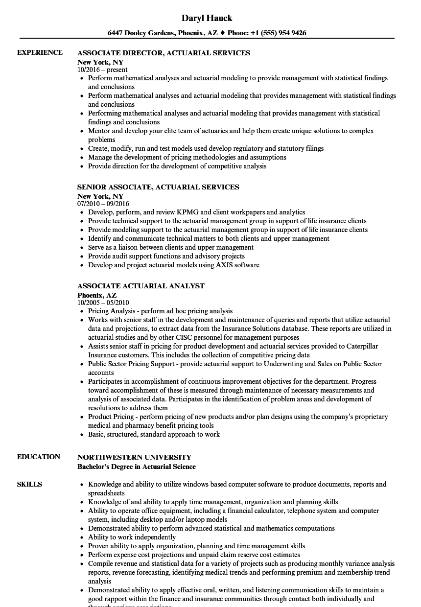 associate  actuarial resume samples