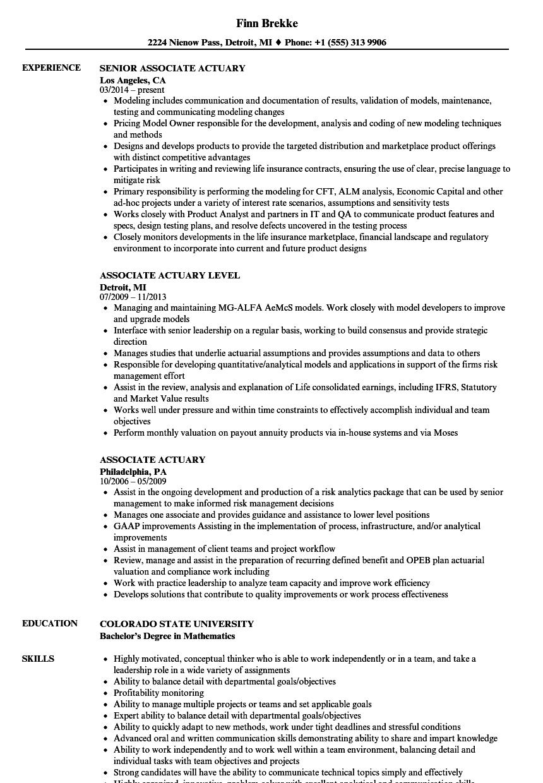 Associate Actuary Resume Samples Velvet Jobs