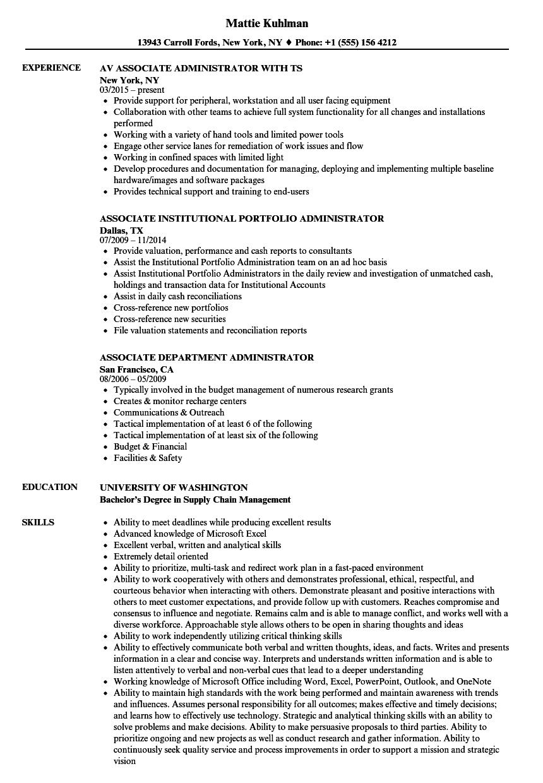 Associate Administrator Resume Samples | Velvet Jobs