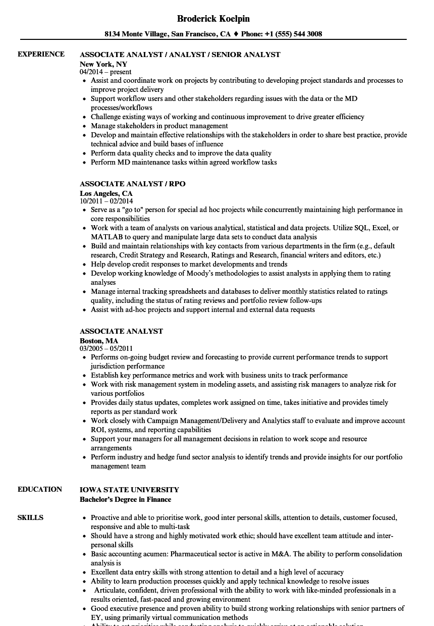 associate analyst resume samples