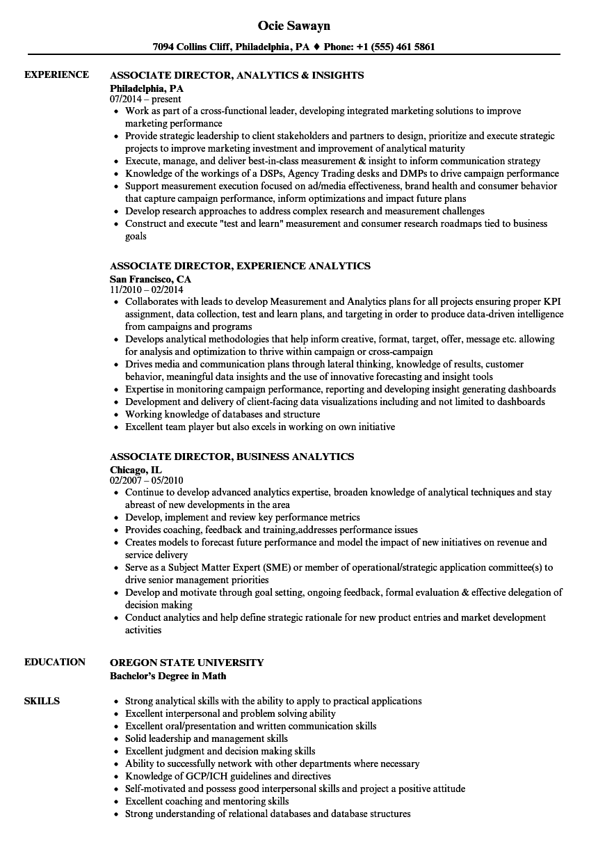 Associate Analytics Director Resume Samples | Velvet Jobs