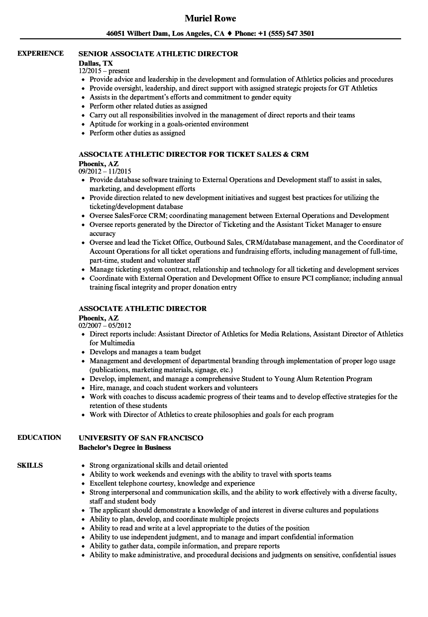Download Associate Athletic Director Resume Sample As Image File