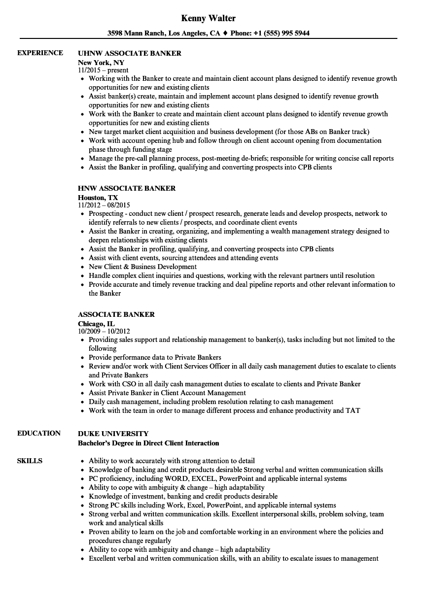 Associate Banker Resume Samples Velvet Jobs