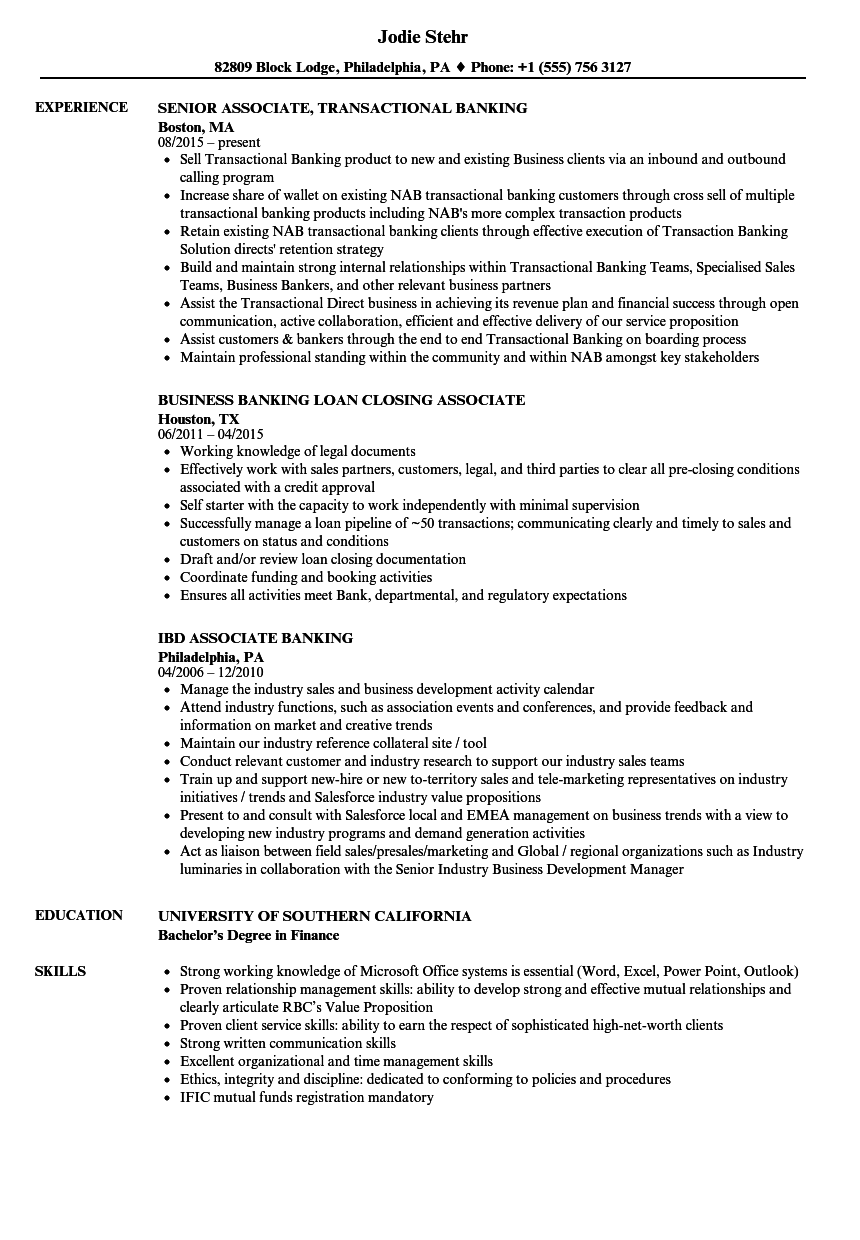 Associate, Banking Resume Samples | Velvet Jobs