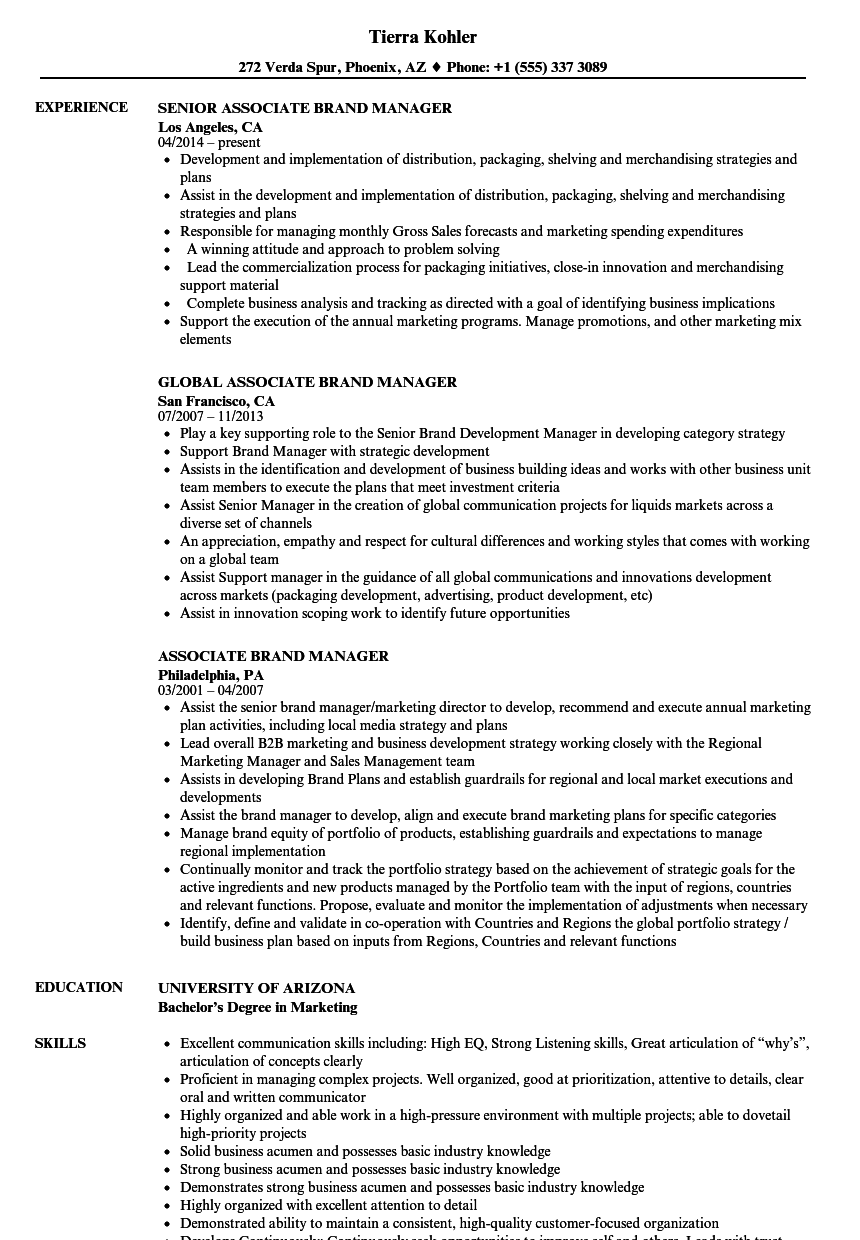 associate brand manager resume samples velvet jobs