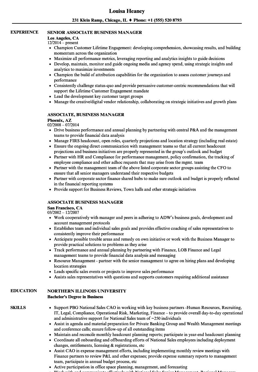 Associate Business Manager Resume Samples | Velvet Jobs