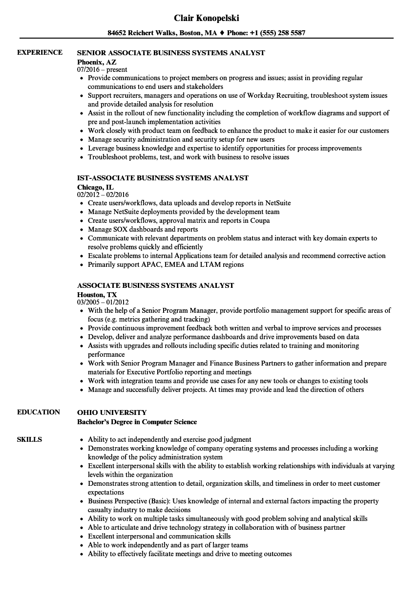 download associate business systems analyst resume sample as image file - Business System Analyst Resume