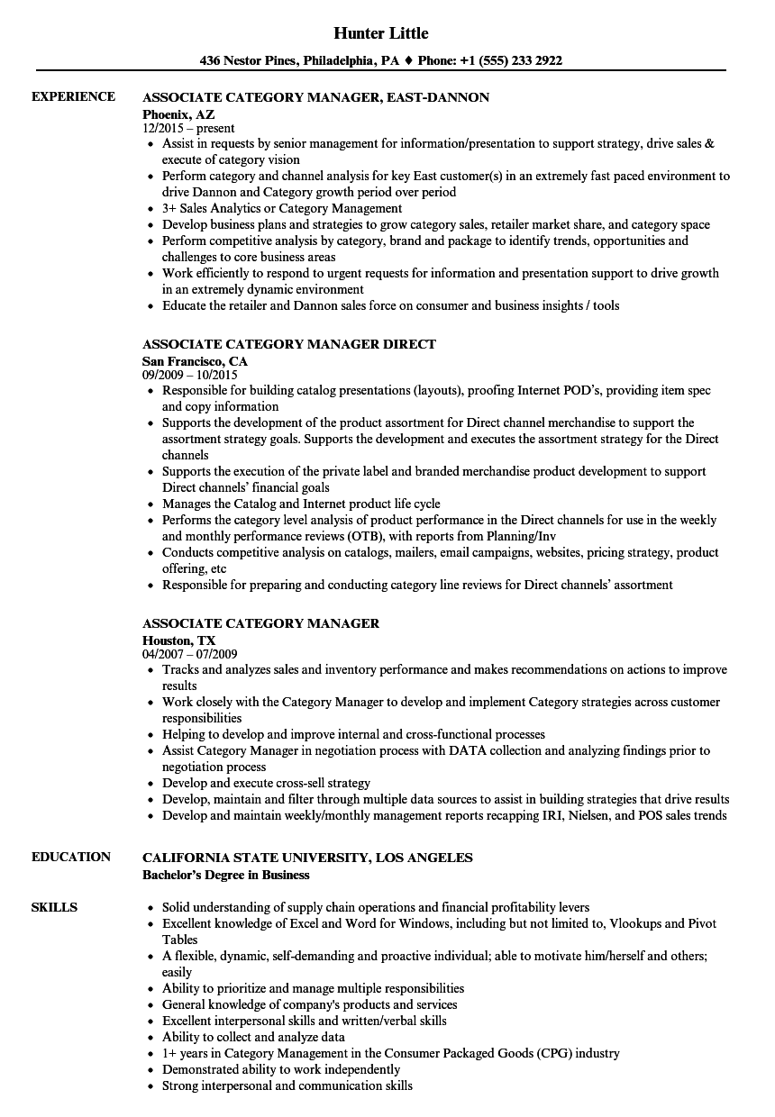 associate category manager resume samples
