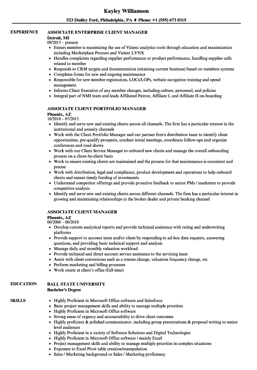 Associate Client Manager Resume Samples | Velvet Jobs