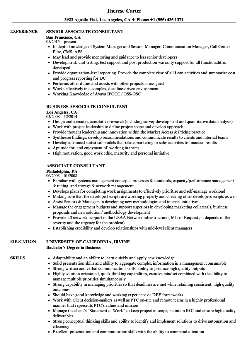Associate Consultant Resume Samples | Velvet Jobs