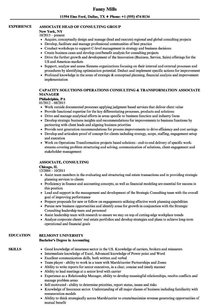 download associate consulting resume sample as image file