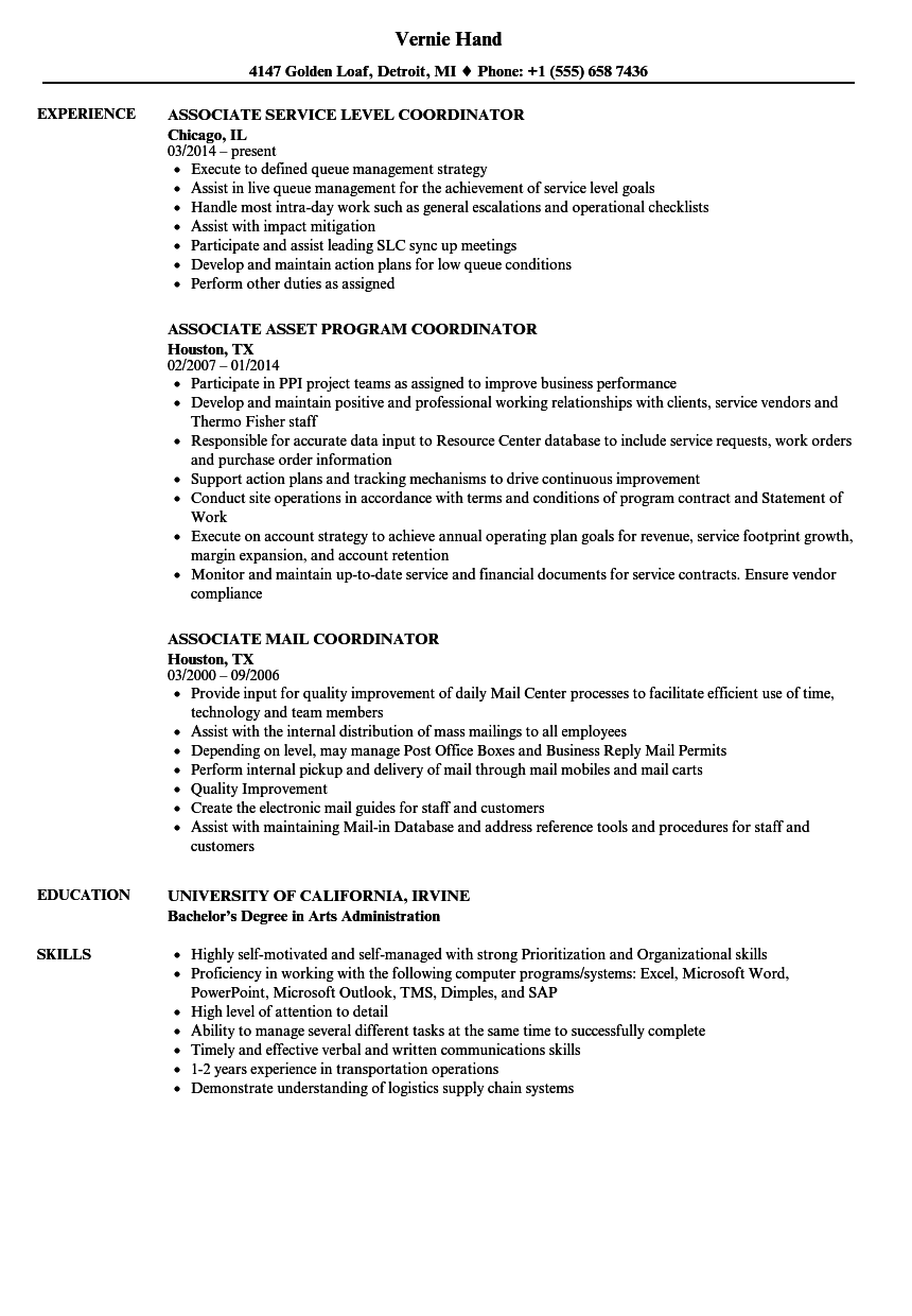 related job titles administrative coordinator resume sample - Resume Examples For Job