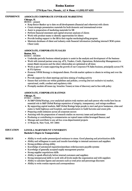 associate  corporate resume samples