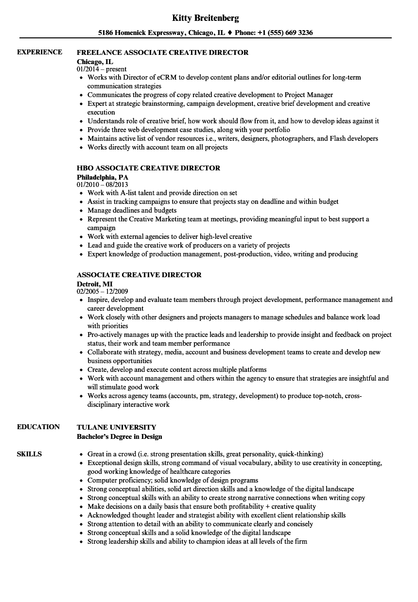Perfect Download Associate Creative Director Resume Sample As Image File