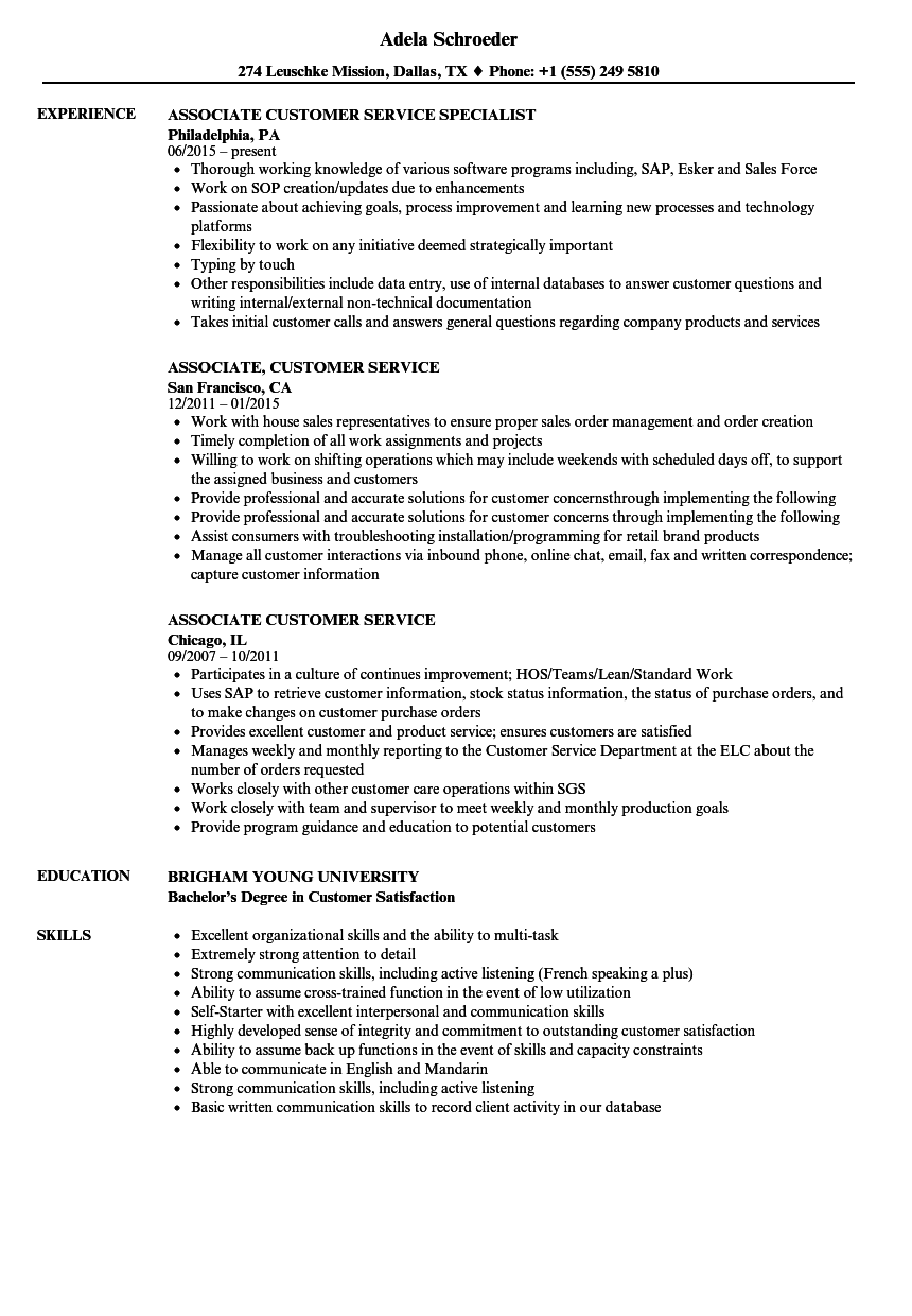 associate  customer service resume samples