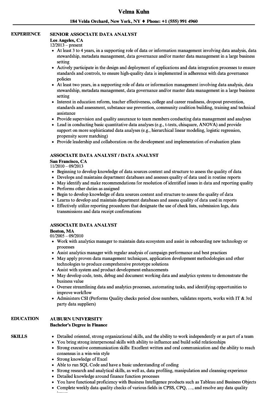 associate data analyst resume samples