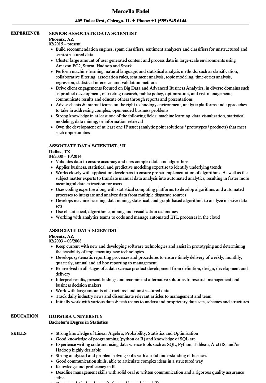 associate data scientist resume samples