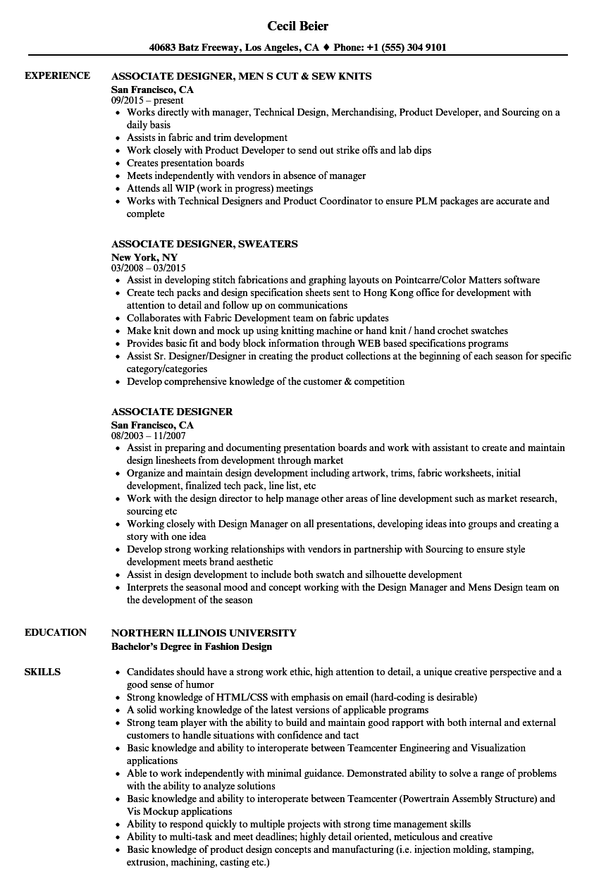 Associate Designer Resume Samples Velvet Jobs