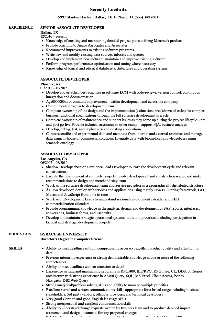 Associate Developer Resume Samples Velvet Jobs