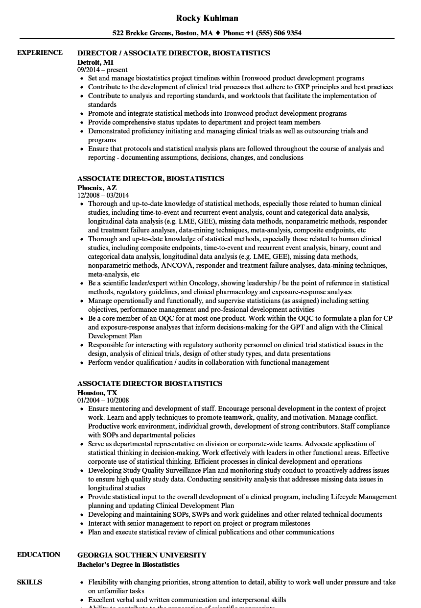 associate director  biostatistics resume samples