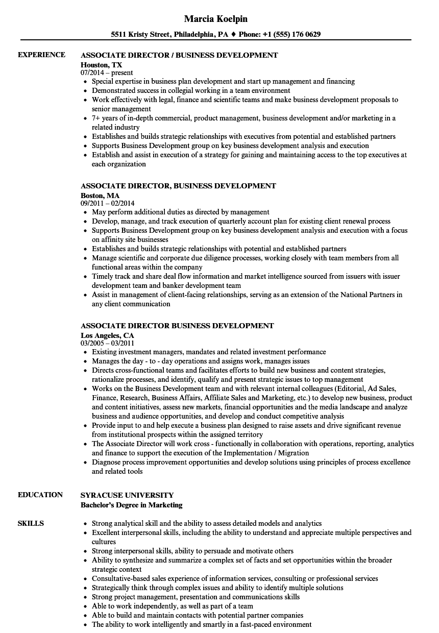 Download Associate Director Business Development Resume Sample As Image  File   Business Development Resume Samples  Business Development Resume Sample