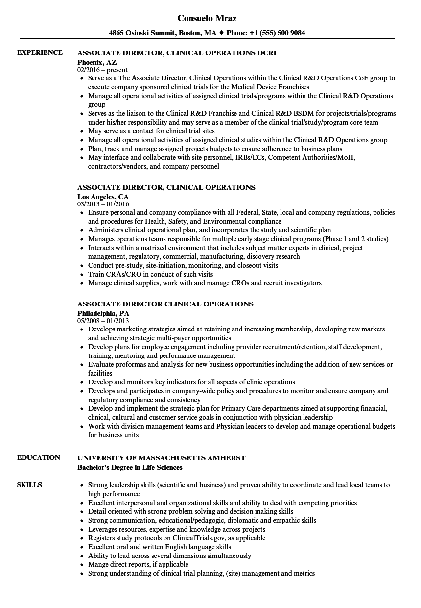 associate director  clinical operations resume samples