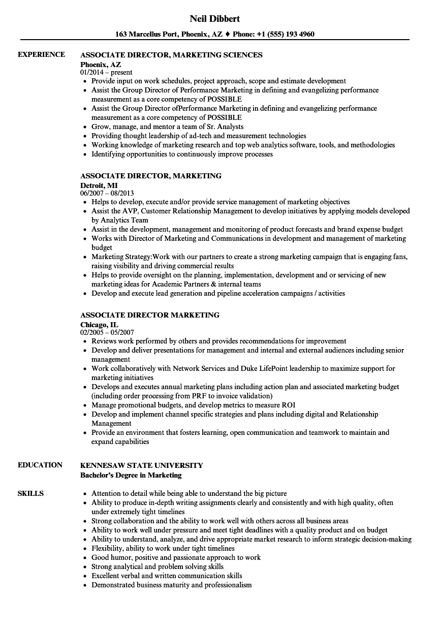 associate director  marketing resume samples