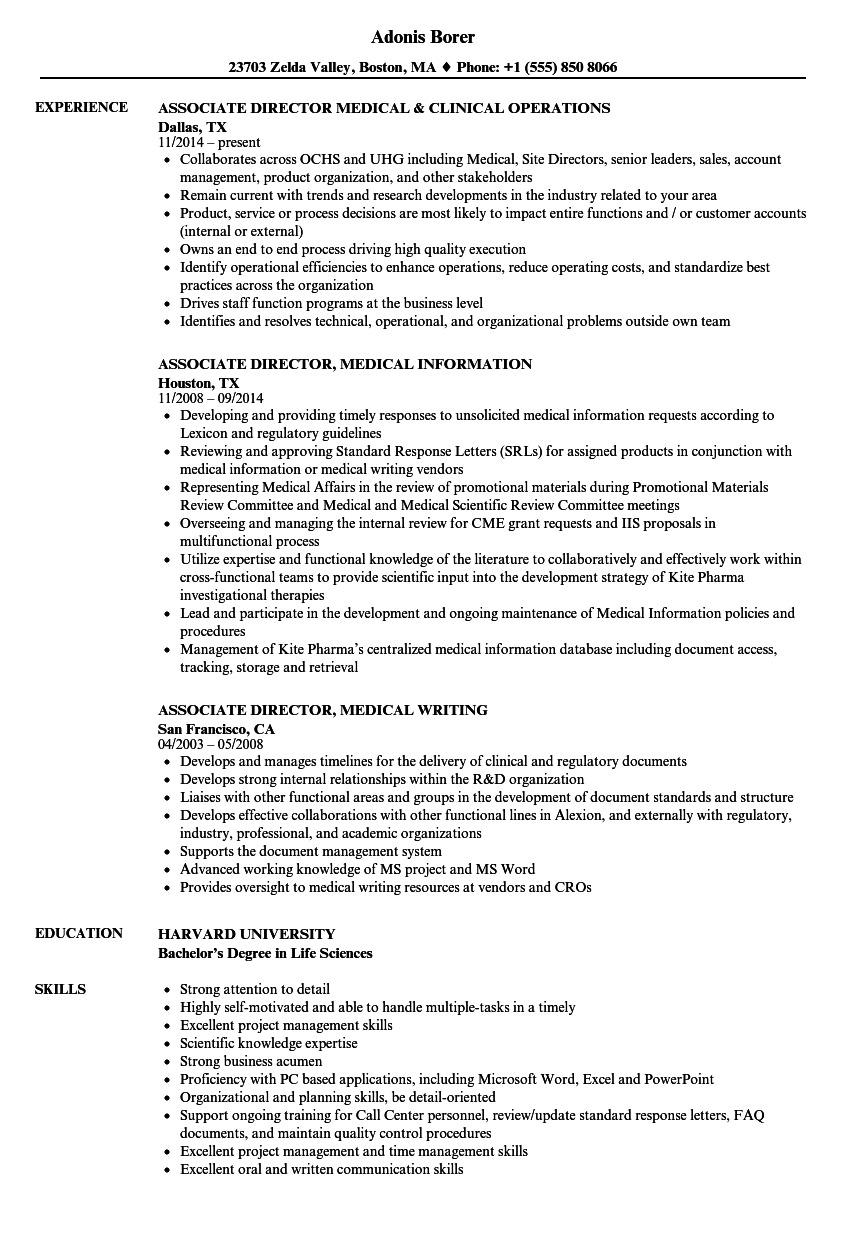 associate director  medical resume samples
