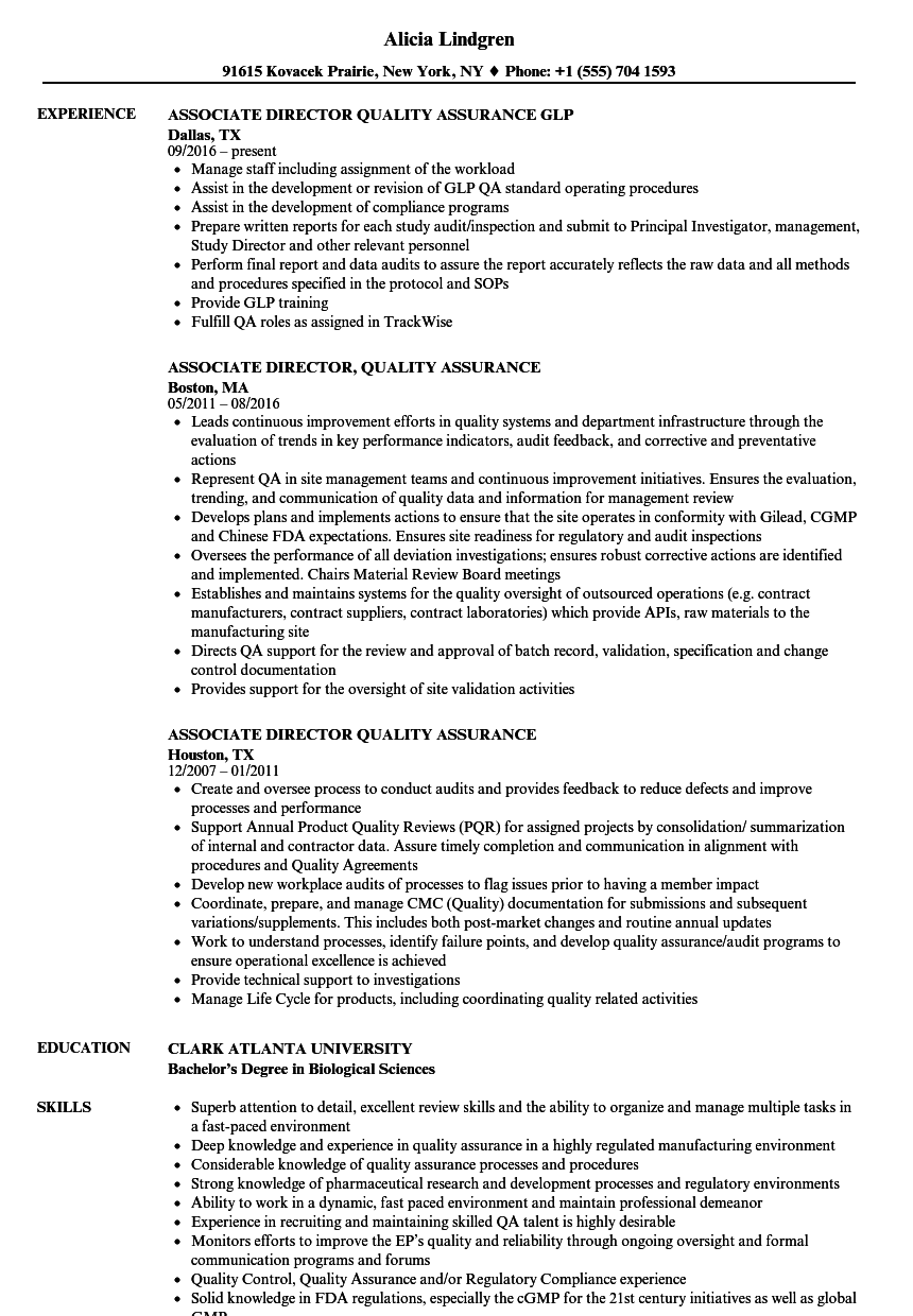 Associate Director, Quality Assurance Resume Samples | Velvet Jobs