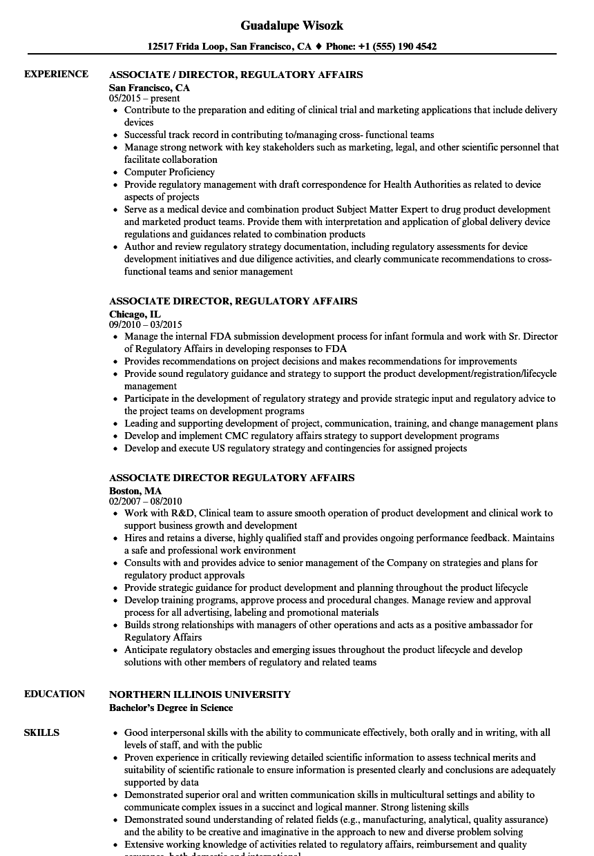 Associate Director, Regulatory Affairs Resume Samples | Velvet Jobs